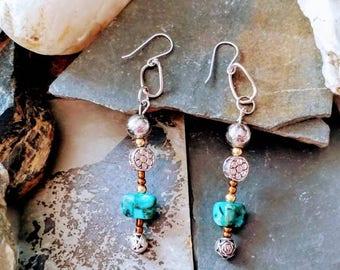 Simple Boho Floral Drop Earrings