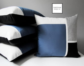 Decorative Blue & Grey Outdoor Pillow Cover, Modern Color Block Pillow Cover, Sapphire Blue Black White Sunbrella Cushion Cover, Mazizmuse