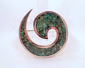 Sterling Green Turquoise Mosaic Swirl Brooch Signed MEXICO 925 TF-47