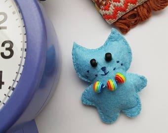 Blue, cute fleece, felt handmade brooch