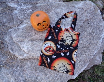 Haunted House Cotton Fabric Reuseable Halloween Candy Tote Bag