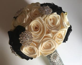 Wedding brooch bouquet in ivory/black satin handmade roses