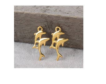 SET of 5 charms gold plated double Dolphin sea ocean marine animal fish (S42)