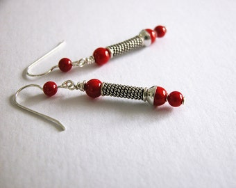Red coral earrings / sterling silver / 2 inch dangle / handmade E-213
