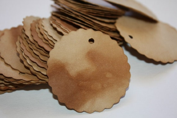 100 Scalloped Circle Tea Stained Tags