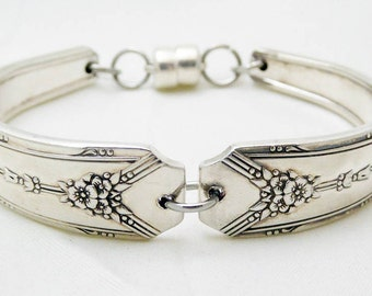 Spoon bracelet, Milady 1940 pattern, silverware jewelry, upcycled, love, ready to ship, free shipping and gift box
