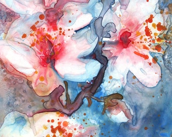 Blue White and Pink Spring Blossom Fine Art Print