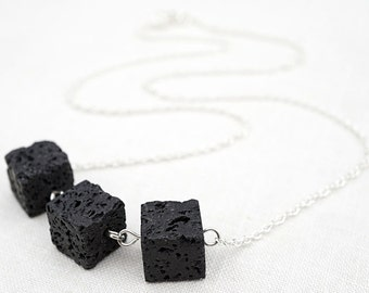 Raw Stone Necklace Raw Stone Essential Oil Diffuser Necklace Santorini Black Lava Stone Cube Geometric Sterling Silver or Gold Chain Modern