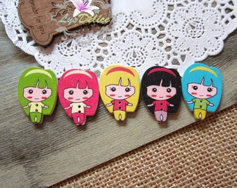 5 x buttons kawai mignonness little girls in wood color