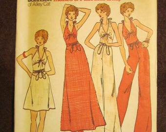 1970's Ladies Butterick Pattern Misses Halter Top, Skirt, and Pants by BETSEY JOHNSON