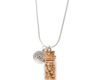 Faith necklace with a miniature bottle of mustard seed.
