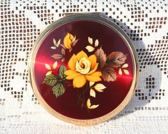 Beautiful Vintage Stratton Convertible Powder Compact Mirror with Pretty Floral Design Red Enamel Unused and Boxed