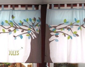 To order: curtains with applique tree multicolored leaves