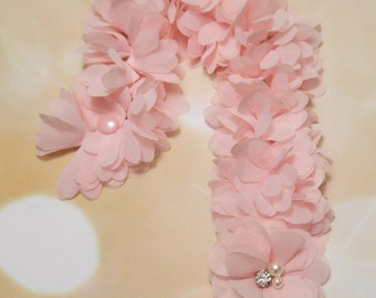 Baby Girl Pink Pacifier Clip Pacifier Holder with Fluffyy Chiffon Flowers