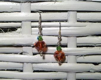 Orange Crystal Pumpkin Earrings
