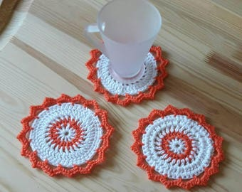 Crochet coaster/Christmas gift/Set of 3 crochet coasters/White with orange coaster/Home, table decor