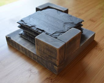 Slate Coasters with Handcrafted Wooden Box