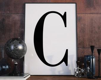 C Letter Print, Initial Wall Art, Letter Print C, Scandinavian Poster, Initial Poster C Letter Poster, C Letter Print, Digital Download