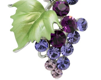 Swarovski Element Crystals Bunch of Grapes Brooch Pin (purple)