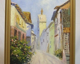 Original small oil painting European village landscape signed Gruner Mother Wife peaceful small ART GIFT