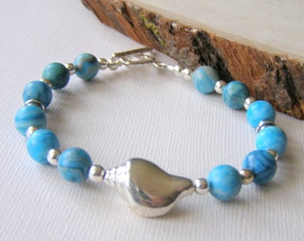 Larimar Blue Agate Bracelet, Crazy Lace Agate, Sterling Silver Seashell, Toggle Clasp, Beach Vacation Jewelry, Bright Blue Summer Bracelet