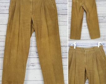 Vintage 80s Corduroy Men's Pants 34x30 Dark Beige Pleated Front Trousers
