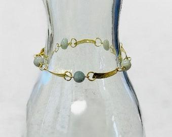 Aquamarine and Brass Bracelet