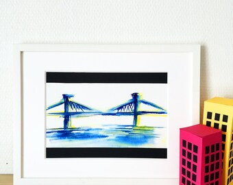 Print, Manhattan Bridge, New York City, painting, watercolor, New York, Manhattan, Bridge, art, art print, limited edition