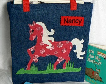 Kids Horse Tote bag|Personalized Tote Bag|Library Book Bag|Gift for Grandkids|Birthday Party Gift|Preschool Book Bag|Toddler Book Bag