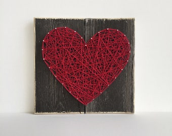 Heart Sign - Wood Sign - Rustic - String Art Sign