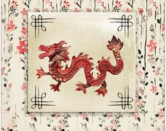 Double card 'The Dragon' handmade 15cm x 15cm