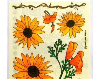 Flowers sunflowers ProvoCraft 15 x 11.5 cm creative cardmaking scrapbooking stickers