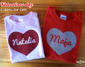 girls valentine shirt, personalized valentine shirt for girls, sparkly heart shirt for girls