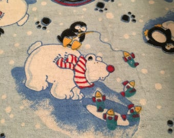 """Christmas fabric; remnant; 12"""" x 18""""; flannel; blue background; polar bears and penguins fishing"""
