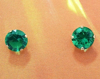 May Birthstone Earring, 14KT Yellow Gold May Birthstone Stud Earring, E5637