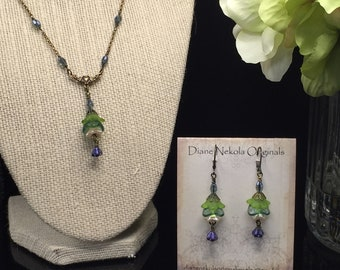 Delicate flower necklace and earring set green purple and blue crystal antique gold, Lucite, Czech bead
