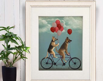 German shepherd decor - German shepherd on tandem - Gsd German shepherd wall art Dog gift for girl Dog mom Tandem bicycle Bike wedding gift