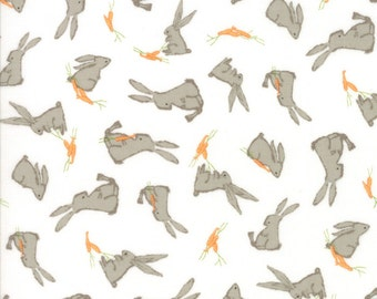 Children's Bunny Rabbit Fabric in White - Darling Little Dickens by Lydia Nelson from Moda 1 Yard