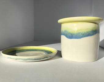 Drippy Ombre Cup and Saucer Set ~ Ceramic Mug ~ Porcelain tumbler