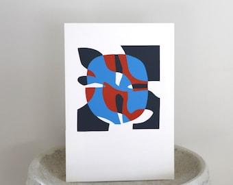 Vintage Abstract Silkscreen Print Ronald King 1978 11 x 15 1/2 inches
