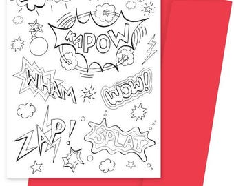 A5 Colouring Card- Kapow!