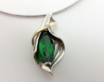 Green Pendant, Ladies Pendant, 925 Sterling Silver Pendant, 14K Yellow Gold Pendant, Gemstone Pendant emerald style