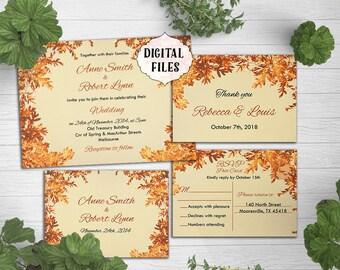 Autumn Wedding invitation, leaves, Autumn Colors, Printable wedding invite, Digital file, Wedding Invitation, rustic invite, leaves