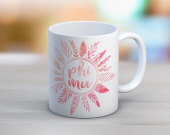 Phi Mu Feathers Mug Sorority Coffee Mug