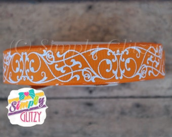 5 Yrds TANGERINE Orange Ribbon with Swirly Swirls Damask Glitter Print 7/8 Inch Grosgrain Ribbon