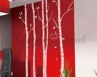 custom for kim wheeler --Set of 4 big birch trees -- 8 feet 6 inch -- Wall Art Home Decors Murals Removable Vinyl Decals Paper Stickers