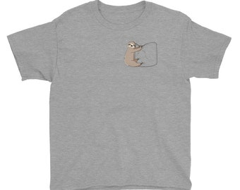 Sloth Hanging on a Pocket T-shirt -- Great gift for sloth shirt lovers -- Sizes Youth Small to Youth XL -- Sloth T-Shirt