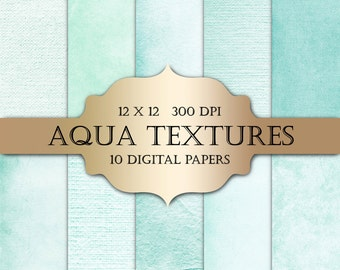 Aqua Digital Paper - textured digital papers, shabby chic paper, mint grunge solid backgrounds for scrapbooking, wedding invitations, cards