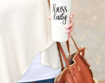 Boss Lady Gold Travel Mug | Girl Boss Babe Gold Tumbler Travel Accessories Gift for Her Gift for Mom Birthday Gift Mothers Day Gift