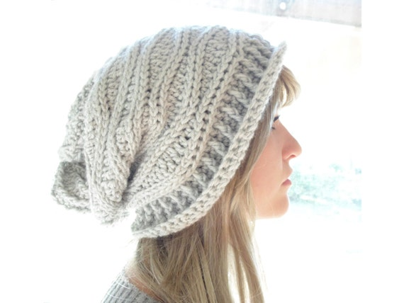 Crochet PATTERN Cabled Wrap Slouchy Hat